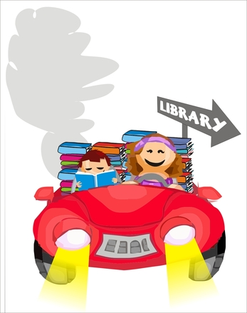 Go by car to library