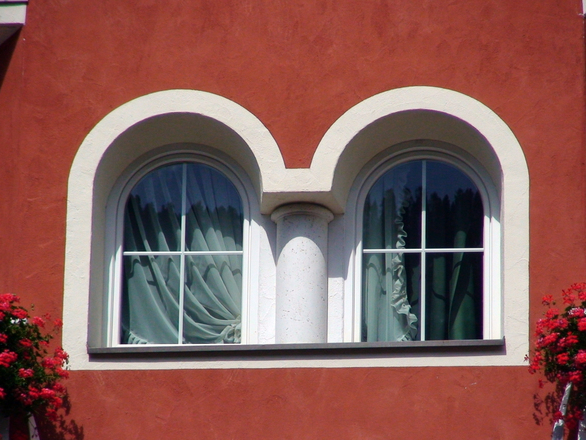 Window in the facade of Dolomite house
