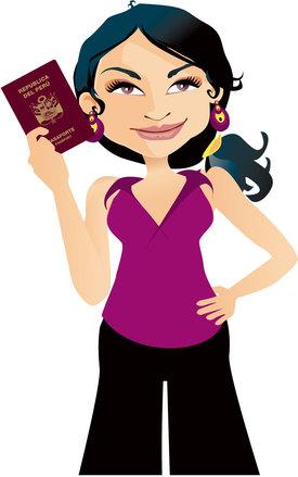 peruvian girl holding passport