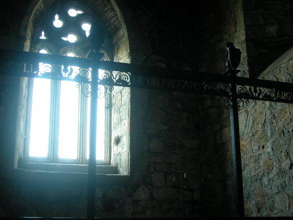 sunshine through ancient abbey window