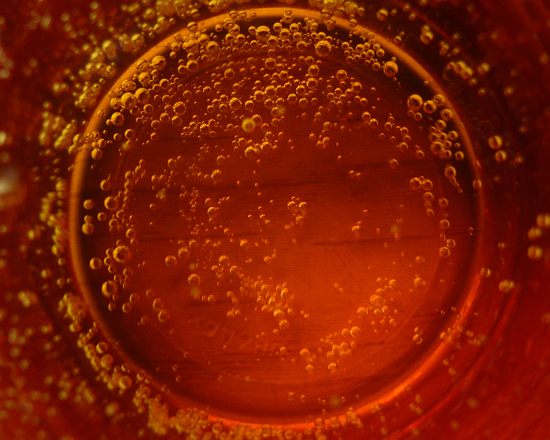 inside glass of beer