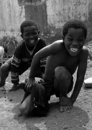 Children playing in an African village