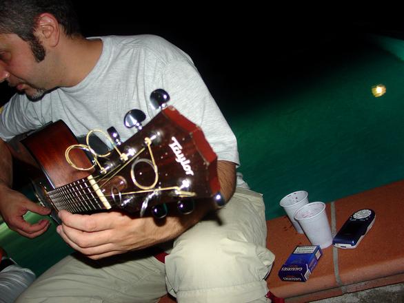 He plays guitar