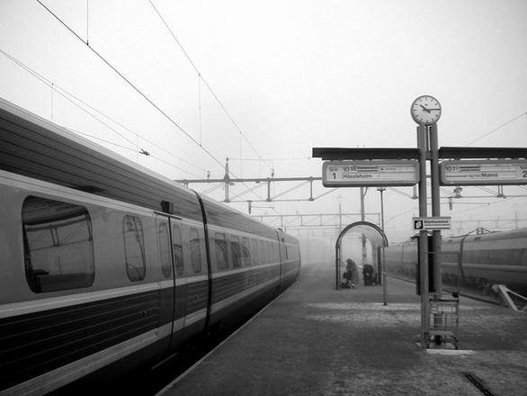 Trainstation in fog