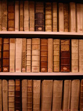 old books in a shelf