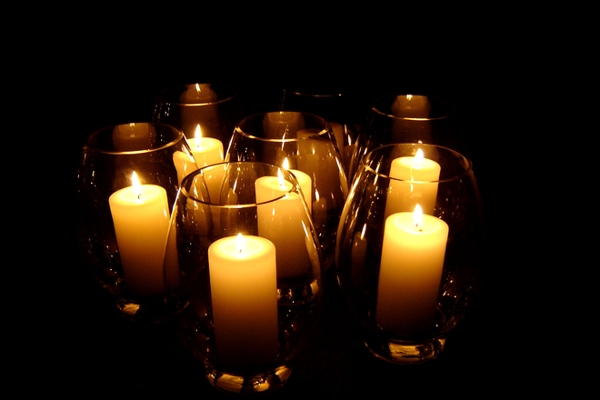Candles In Hurricane Vases