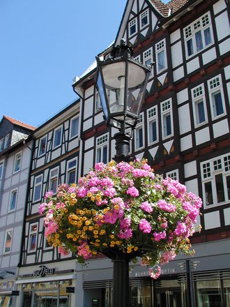 lantern and half-timbered house
