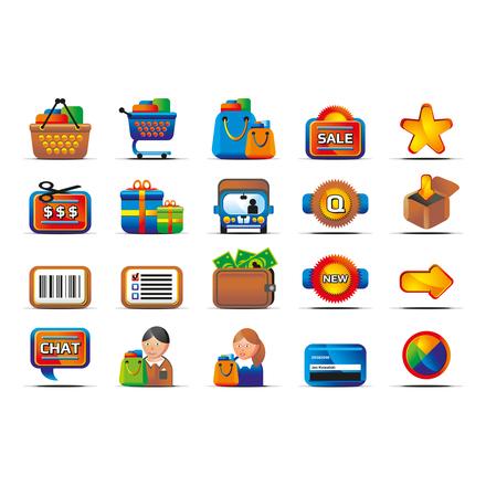 Verkkokaupan ikoneja