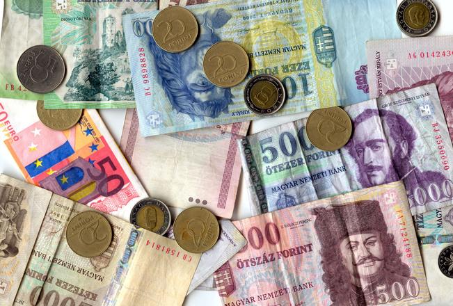 barevné peníze (forinty, eura atd.)