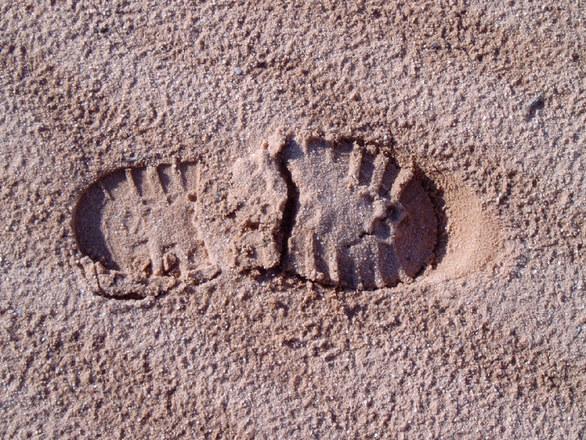 shoeprint in the desert sand