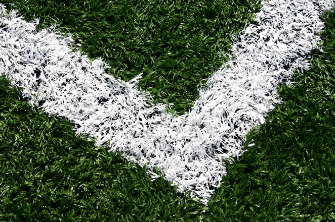 Closeup corner of a soccer arena
