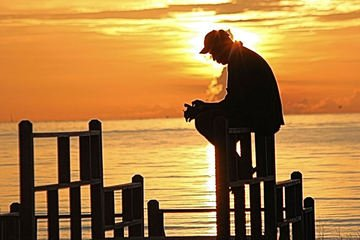 Silence,prayer,silence,ocean