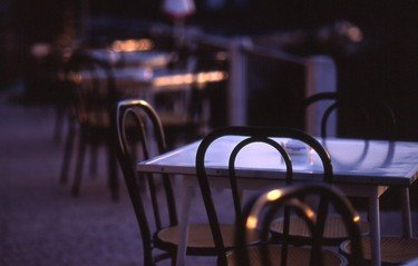 Tables and chairs in morning l