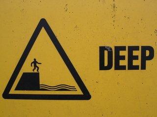 Deep,deep,warning,sign