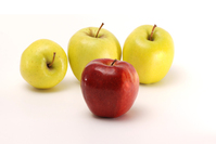Red apple and yellow apples