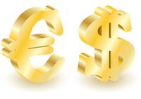 Dollar and euro money 3d symbols