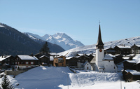 Snowy mountain village