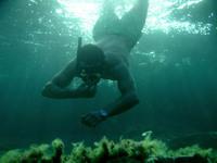 having fun under water
