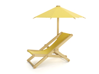 3d illustration: umbrella and folding chair, objec