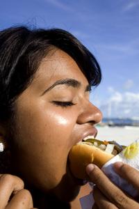 Eating hot dog