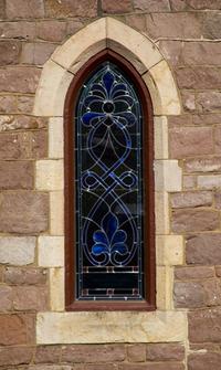 Stained Glass Church Window w/ Stone