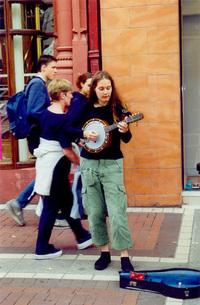 Young girl playing banjo