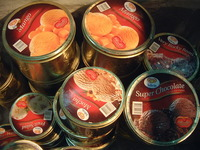ice cream in cans