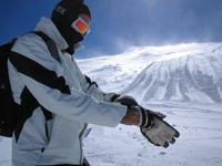 Skier in snowstorm