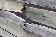 Broken wooden fence
