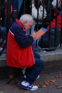 Old man sketching