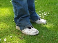 funny white shoes