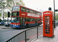 Bus and phone box i n London