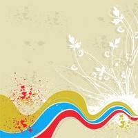 Grunge floral wave