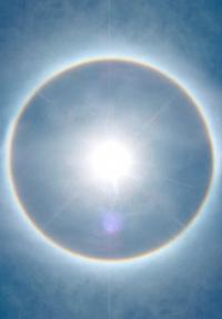 Sun with rainbow halo