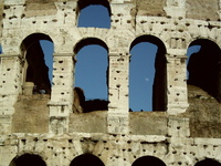 Roman Colloseum with moon seen