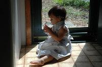 little girl with bottle