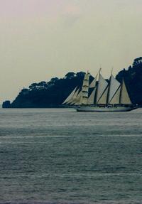 sailer near portofino cape