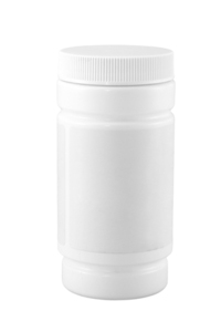 Closed white medicine bottle