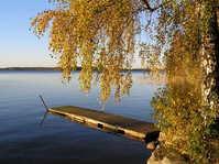 Autumn, bridge by swedish lake