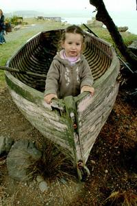 Mya in a boat
