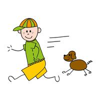Running boy with dog