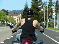 Biker at stop light