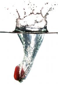 Strawbery splash over white stock photos 2