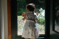 little girl looking out