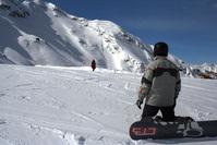 snowboard looking at girl