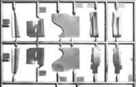plastic model parts in frame