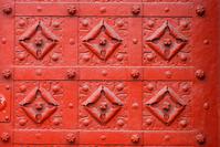 Red metal flowers texture