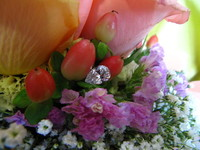 Bouquet of Roses With Pear Shaped Diamond