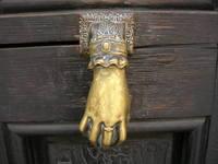 woman hand in the door