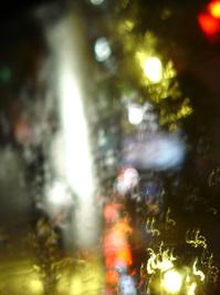 Rainy night through the car wi